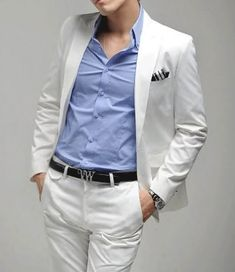 Mens New One Button Slim Skinny Fit White Mens Suit