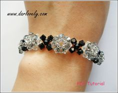 Crystal Black Diamond Flower Bracelet