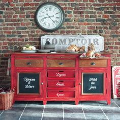 vintage style red sideboard. Love. To go with bright legs of dining table