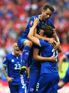 #EURO2016 Iceland players celebrate winning the UEFA EURO 2016 Group F match between Iceland and Austria at Stade de France on June 22 2016 in Paris France