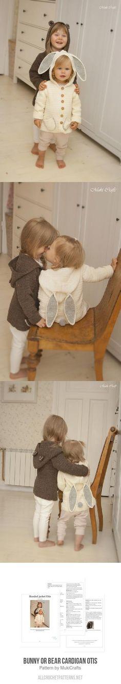 Bunny Or Bear Cardigan Otis Crochet Pattern Knitting Ideas, Knitting Patterns, Crochet Patterns, Crochet Animals, Diy Clothes, Crochet Baby, Crochet Projects, Cloths, Bunny