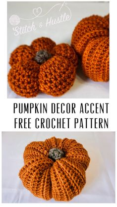 Learn how to crochet these mini pumpkins that are great Fall decorations with Stitch & Hustle. Crochet Fall, Halloween Crochet, Easy Crochet, Free Crochet, Holiday Crochet, Crochet Pumpkin Pattern, Crochet Patterns, Foundation Single Crochet, Diy Pumpkin