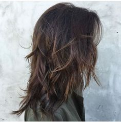 Messy Dark-Brown Waves with Long Layers