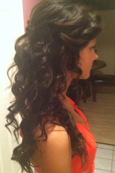 Curly partial updo