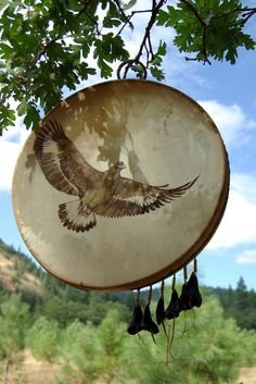 Eagle drum picture from The Hollow Bone: A Field Guide to Shamanism by Colleen Deatsman ~ drum and picture by Joy Markgraf