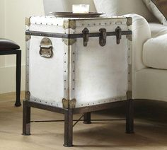 Tables - Ludlow Trunk Side Table   Pottery Barn - vintage, trunk, repurposed, weathered, canvas, table, storage, side, accent, white, bronze...