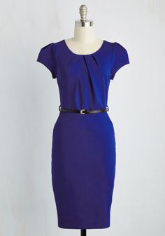Professional Protege Dress. Meet your mentor having dressed to display your motivation in this sapphire blue sheath dress! #blue #modcloth