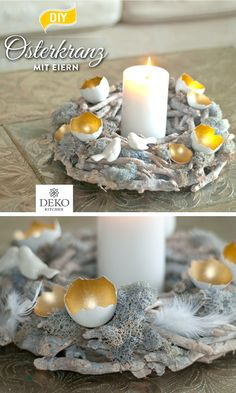 DIY: decorate pretty Easter wreaths with egg shells, With egg shells you can create beautiful Easter wreaths. Whether combined with simple colors or with plants, the bowls are eye-catchers and are also c. Diy Gifts For Kids, Diy For Kids, Diy Candles, Pillar Candles, Easter Printables, Idee Diy, Simple Colors, Egg Shells, Easter Wreaths