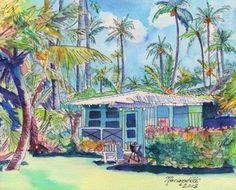 Original Watercolor Painting Kauai Blue Cottage 2 | eBay