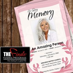 PINK IMPRESSIONS ... (printable funeral program template)