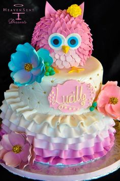 owl birthday cakeFondant Owl Cake Topper Owl Cake birthday party girl boys kids kid chil children Owls Owl hibou gateau