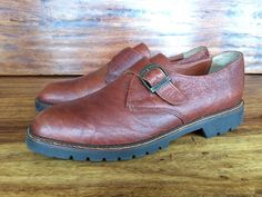 Mens H.S. Trask Casual Monk Strap Shoes Brown Buffalo Leather 10 M Made In USA #HSTrask #Oxfords
