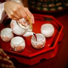 A traditional korean bowing  & tea ceremony