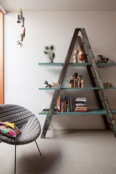 A frame shelf on the cheap with an old ladder - could be fun for downstairs.