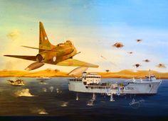 Argentinian V Air Brigade attacking HMS Sir Bedivere in the Strait of San Carlos, Falklands War