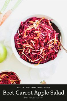 Beet Carrot Apple Salad will make your tastebuds dance with flavor. The sweet carrot & apple balance out the earthy beets. Simply tasty, paleo, and gluten-free. Apple Salad Recipes, Salad Recipes Healthy Lunch, Salad Recipes Video, Vegetarian Recipes, Cooking Recipes, Carrot Recipes, Drink Recipes, Paleo, Quinoa