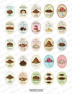 Sweets and chocolate Digital Collage Sheet 30 x 40 mm