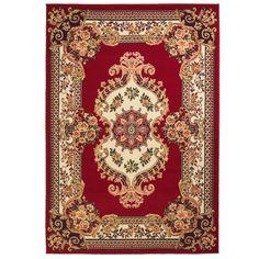 vidaXL Covor persan, design oriental, 80 x 150 cm, roșu/bej Black White Rug, Dark Grey Rug, Yellow Rug, Design Oriental, Oriental Rugs, Red Color Schemes, 230