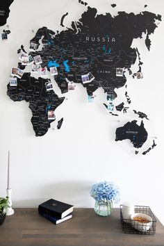 Black Gift World Map by GaDenMap. Push Pin travel map for wall decor in office room, bedroom, living room, kid's room decorating. Unique gift idea for travelers. Home Decor Wall Decal, Map Pin Board, Wall Décor, Push Pin World Map, Map of the World, Custom Map Gift, World Map Travel #worldmap #bedroomdecor #homedecorating Map Wall Decor, Wooden Wall Decor, Rustic Decor, Farmhouse Decor, Push Pin World Map, Globe Decor, Wall Art Designs, Cool Walls, Printable Wall Art