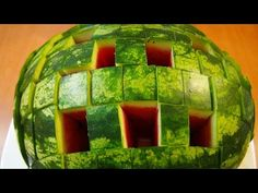 How to Cut a Watermelon to Eat - Food Life Hacks.  Amazing way you need to know.