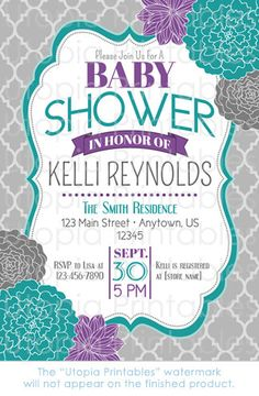 Teal Purple Floral Baby Shower Invitation by UtopiaPrintables