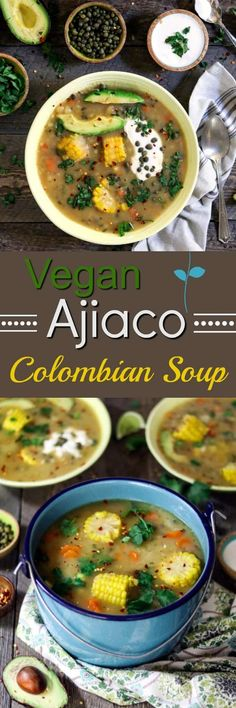 Ajiaco is a satisfying, one-pot meal, that's served with an array of mouth-watering fixin's that'll make your taste buds dance! #ajiaco via @veganhuggs