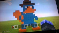 Minecraft Pixel Art Perry  Lana Naranja , Lana Cian , Lana Marron , Lana Negra , Lana Blanca