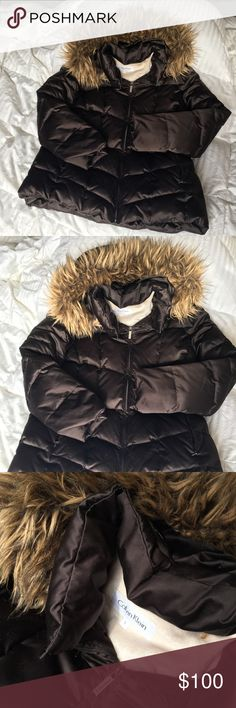 Winter puffer coat Beautiful black satin like material. Faux fur hood lining, still in great condition. Removable hood. SUPER warm. Calvin Klein Jackets & Coats Puffers