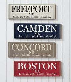 "A customized accent for your home or camp, displaying the name of any US city or town, its state and its latitude and longitude. Specify city/town and state, and they will be printed on the sign, along with the city's coordinates. Zip code required when ordering. An L.L.Bean exclusive. Accommodates up to 14 characters, including spaces, for the town and 2 for the state. Pine base. Use indoors or out; sheltered location recommended. Approx. 5¼"" x 16¼"". USA."