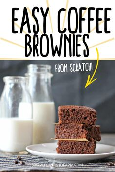 Easy coffee brownies from scratch are the perfect marriage of coffee and chocolate! Deep, rich flavor, and even more chocolatey than ever before, these brownies will surely satisfy your sweet tooth. Easy Homemade Desserts, Homemade Cake Recipes, Best Cake Recipes, Easy Desserts, Real Food Recipes, Easy Recipes, Dessert Recipes, Brownies From Scratch, Cake Recipes From Scratch