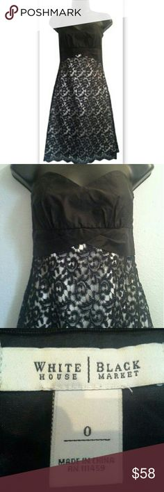 BF SALE! White House Black Market Dress Silk Lace Stunning dress by White House Black Market! Elegant strapless evening dress with 100% silk upper bodice and polyester lower. Beautiful black lace overlay features scalloped edges and fine detailing. Soft and sleek cream skirting beneath. Great condition. A few very small nicks in the fabric of the underlay bodice. Not at all visible when worn. Falls to the knee on most women. Side zip closure.  Women's size 0. Measurements are as follows…