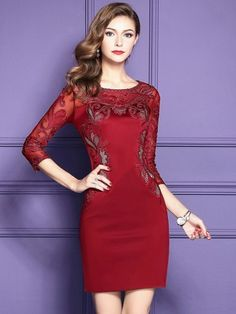 Classy Navy Blue Lace Long Sleeve Cocktail Dresses For Women Wedding Guest