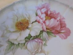 9 5' Bavaria Antique Porcelain Plate with Pink White Roses Peonies | eBay