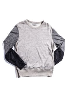 Public School: French Terry/Wool Sleeve Detailed Crewneck