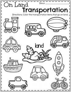 Transport-Arbeitsblätter - Back to School Worksheets - Transport Transportation Preschool Activities, Transportation Worksheet, Transportation Activities, Preschool Education, Preschool Learning, Free Preschool, Preschool Themes, Preschool Science, Fun Learning