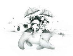 Panda Bear Illustration by Emmanuelle Colin Amor Panda, Cute Panda Drawing, Panda Mignon, Panda Illustration, Art Mignon, Panda Art, Panda Love, You Draw, Cute Drawings