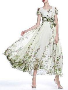 A-line Short Sleeve Boho Chiffon Crew Neck Maxi Dress - Olivia Maxi Dresses Pretty Dresses, Sexy Dresses, Beautiful Dresses, Fashion Dresses, Gq Fashion, Party Fashion, Petite Fashion, Indian Fashion, Elegant Maxi Dress