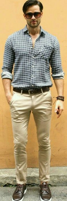 Men's style look. Checked shirt and chinos