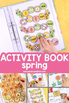 Printable Spring Quiet Book – Activity Book for Pre-K and K This printable spring quiet book is great for your preschool or kindergarten aged kids as it focuses on a set of basic skills. Easy Peasy and Fun Preschool Learning Activities, Preschool Worksheets, Infant Activities, Book Activities, Preschool Activities, Teaching Kids, Preschool Printables, Preschool Binder, Preschool Curriculum Free