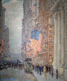 "Flags on the Waldorf, 1916 by Childe Hassam - oil on canvas. This painting is one of approximately thirty paintings that Childe Hassam painted during World War I, referred to as ""The Flag Series"".  It resides in the Amon Carter Museum, Fort Worth, Texas."