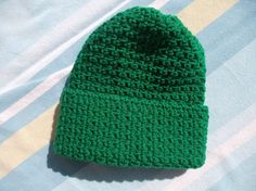 Crocheted Green Cap by JansCraftShop on Etsy, $12.87
