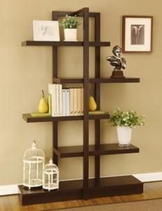 @Overstock.com.com - With its unique, modern design, this convenient bookcase display cabinet is both functional and beautiful. It features a vertical frame and five staggered shelves, positioned to create different-sized spaces for your small and large treasures.http://www.overstock.com/Home-Garden/Addison-Cappuccino-Bookcase-Display-Stand/6237339/product.html?CID=214117 $214.99