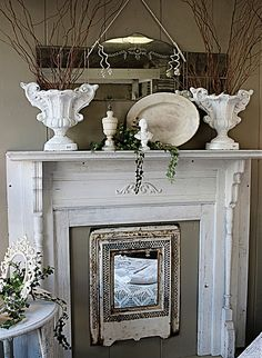 Interesting to put a mirror over fireplace opening during the non burning season. Decor, Mirror Over Fireplace, Vintage House, Decor Inspiration, Mantle Decor, Home Decor, Shabby Chic Bedrooms, Fireplace, Vintage Fireplace