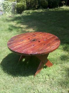 My amazing husband made this picnic table from an old cable spool. Swoon away, ladies! The next time your husband trucks something crazy home in a rented pickup truck, tell him to find something to do with it on Pinterest!