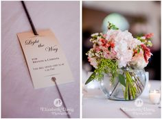 Wedding Photography details - sparklers with custom typographic notes and pink flowers in fishbowl centerpieces | Elizabeth Davis Photography, Florida. Click here to see the whole wedding and more lovely details: http://elizabethdavisphotoblog.com/bryson-christas-wedding-photography/