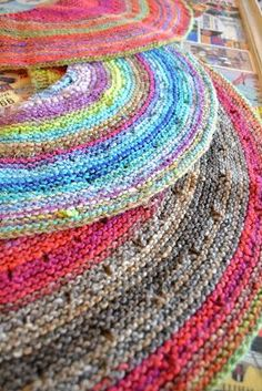 silk moon shawl - Noro yarn in garter stitch.