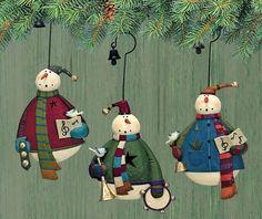 Snowmen Carol Folk Art Ornaments Set of Three Williraye Studio