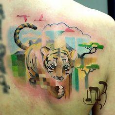 1100 Elképesztő pixeles, vízfesték hatású, állatos tetoválások egy orosz fiatalembertől