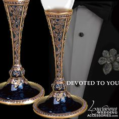 Luxurious Wedding Accessories — Champagne Toasting Flute Devoted To You