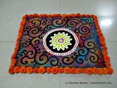 Easy multicolored galicha style rangoli design | Creative Rangoli design...